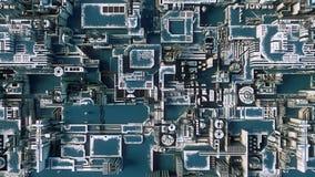 Abstrakt blå futuristisk technomodell Digital 3d illustration Royaltyfri Fotografi