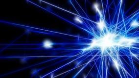 Abstrakt blå futuristisk teknologinätverksknutpunkt Kabeldata lin arkivfoto