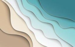 Abstrakt blå havs- och strandsommarbakgrund med kurvan skyler över brister