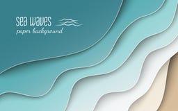 Abstrakt blå havs- och strandsommarbakgrund med kurvpapper vinkar och seacoasten som kantjusteras med urklippmaskeringen för bane royaltyfri illustrationer