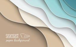 Abstrakt blå havs- och strandsommarbakgrund med kurvpappersvågen och seacoast för baner-, affisch- eller webbplatsdesign stock illustrationer