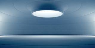 Abstrakt blå inredesign av den moderna visningslokalen med det tomma vita golvet och krökt betongväggbakgrund Royaltyfria Foton