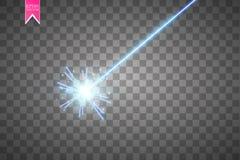Abstrakt blå laserstråle Isolerat på genomskinlig svart bakgrund Vektorillustration, Arkivfoto