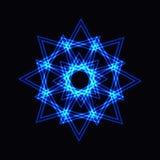 Abstrakt blå neonform, futuristisk krabb fractal av stjärnan Royaltyfri Foto
