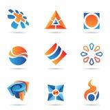 abstrakt blå orangeset för symbol 22 Arkivbild