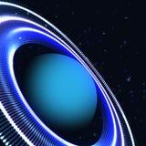 Abstrakt blå planet med cirkeldesign Vektorillustration av ett djupt utrymme royaltyfri illustrationer