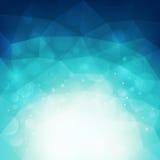 Abstrakt blå polygonal bakgrund med ljus och bokeheffekt Royaltyfri Fotografi
