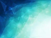 Abstrakt blå polygonal bakgrund med ljus och bokeheffekt Royaltyfria Foton