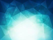 Abstrakt blå polygonal bakgrund med ljus och bokeheffekt Arkivbilder