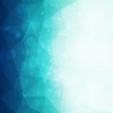 Abstrakt blå polygonal bakgrund med ljus och bokeheffekt Arkivbild