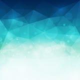 Abstrakt blå polygonal bakgrund med ljus och bokeheffekt Royaltyfria Bilder