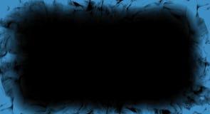 Abstrakt blå rökflammaram på isolerat en svart bakgrund arkivfoto