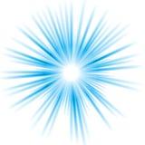 Abstrakt blå skinande vektorsoldesign Royaltyfria Bilder
