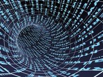 abstrakt blå symboltunnel för internet 3d Arkivbild