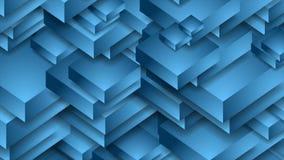 Abstrakt blå teknologi 3d formar den videopd animeringen stock video
