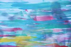 Abstrakt blå vattenfärgbakgrund på bränt papper Arkivbilder