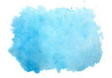 Abstrakt blå vattenfärgbakgrund som isoleras på vit Arkivfoton