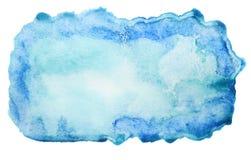 Abstrakt blå vattenfärgbakgrund som isoleras på vit Arkivfoto