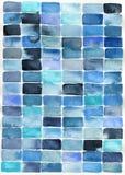 Abstrakt blåa rektanglar för vattenfärg stock illustrationer