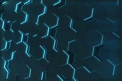 Abstrakt blått glöda av den futuristiska yttersidasexhörningsmodellen framförande 3d Royaltyfria Foton