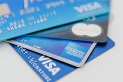 abstrakt blått kortkrediteringsfoto arkivfoto