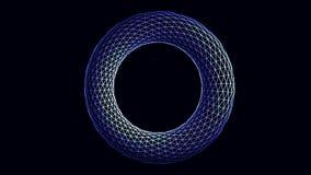 Abstrakt, blått och vitt, geometriskt diagram för cirkelform som roterar på svart bakgrund Volym illustrerade, genomskinligt stock illustrationer