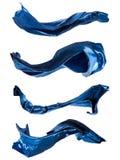 Abstrakt blått silke på vit bakgrund Royaltyfri Foto