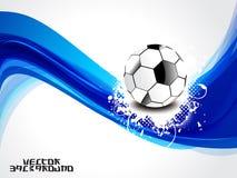 Abstrakt blått vinkar bakgrund med fotboll Fotografering för Bildbyråer