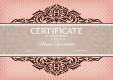 Certifikat av prestationen Arkivbilder