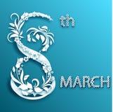 Abstrakt blom- hälsningkort med 8 mars Moderiktig papperssnittdesign Arkivfoton
