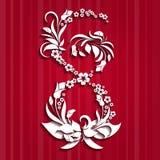 Abstrakt blom- hälsningkort med 8 mars Moderiktig papperssnittdesign Royaltyfria Bilder
