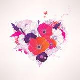 abstrakt blom- hjärtavektor Arkivfoton