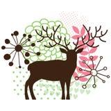 Abstrakt blom- hjortar royaltyfri illustrationer