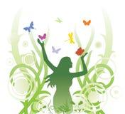 abstrakt blom- illustration royaltyfri illustrationer