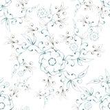 Abstrakt blom- sömlös modell för illustration på en vit bakgrund royaltyfri illustrationer