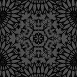 Abstrakt blom- svart sexhörningsmodellför silvergrå färger Arkivfoto