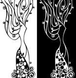 abstrakt blom- vektorkvinna Arkivbild
