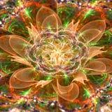 Abstrakt blomma 3D med en detaljerad dekorativ blomma av livsymbolet, allt i den glänsande apelsinen, gräsplan, lila Arkivfoto