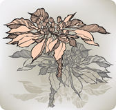 Abstrakt blomma med bär, hand-teckning också vektor för coreldrawillustration royaltyfri illustrationer