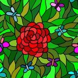 Abstrakt blomma med fjärilen, sömlös modell Royaltyfri Foto
