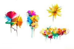 Abstrakt blomma och blad för oljamålning Illustrationen som isoleras av våren, sommarblommor, målar design över vit bakgrund stock illustrationer