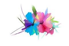 Abstrakt blomma och blad för oljamålning Illustrationen som isoleras av våren, sommarblommor, målar design över vit bakgrund royaltyfri illustrationer