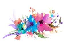 Abstrakt blomma och blad för oljamålning Illustrationen som isoleras av våren, sommarblommor, målar design över vit bakgrund vektor illustrationer