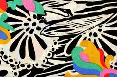 Abstrakt blomma- och cirkelmodell på tyg Arkivbilder