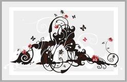 abstrakt blommaprydnad Royaltyfri Bild