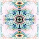 Abstrakt blommaprydnad på vit bakgrund Arkivfoton