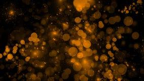 Abstrakt bokehbakgrund f?r guld verkliga dammpartiklar med verkliga linssignalljusstj?rnor bl?nka ljus Defocused abstrakta ljus g stock illustrationer