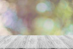 Abstrakt bokehnatur med den wood terrassen Arkivfoton