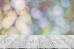 Abstrakt bokehnatur med den wood terrassen Royaltyfria Bilder