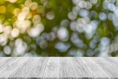 Abstrakt bokehnatur med den wood terrassen Fotografering för Bildbyråer